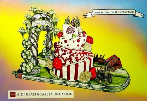 A rendering of the planned Rose Parade float.
