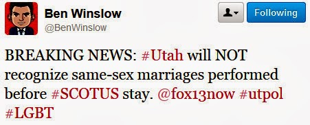 ben BREAKING: Utah Will Not Be Recognizing Existing Same Sex Marriages