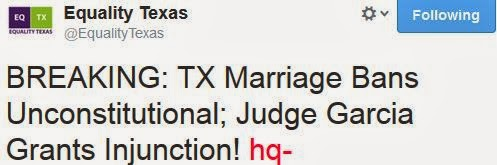 txmarriage Texas Marriage Ban Ruled Unconstutional By Federal Judge!