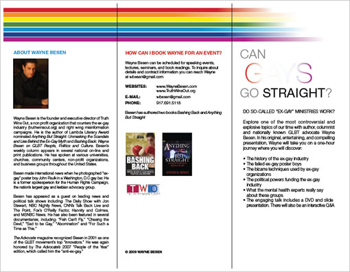Can Gays Go Straight? - Book Wayne Besen to find out