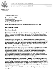 USCCR letter supporting Hate Crimes Prevention Act