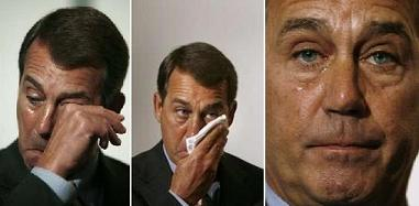 John Boehner goes through the stages of sad because of mean old Harry Knox