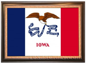 Framed Iowa flag
