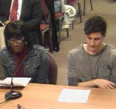 CityPages: Janet Boynes and ex-gay client at Anoka-Hennepin school board meeting in January.