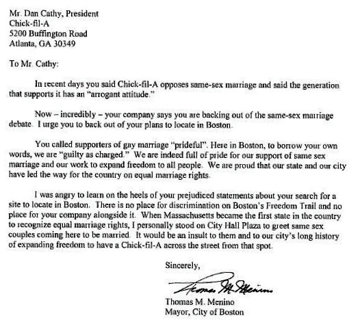 Boston Mayor s Letter To Chick Fil A CEO Is A Thing Beauty