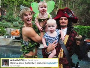 "Neil Patrick Harris and David Burtka, trying to make Halloween great for their ""accessories."""