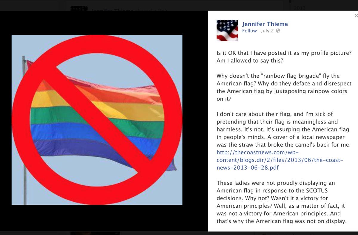 nom s jennifer thieme believes pride flag is a corruption of the